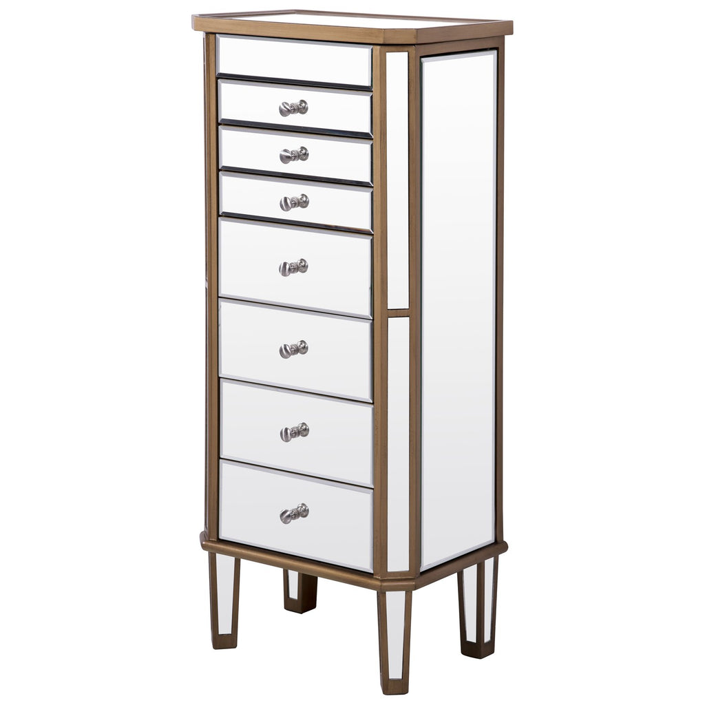 Contempo 7-Drawer Jewelry Armoire in Gold Clear