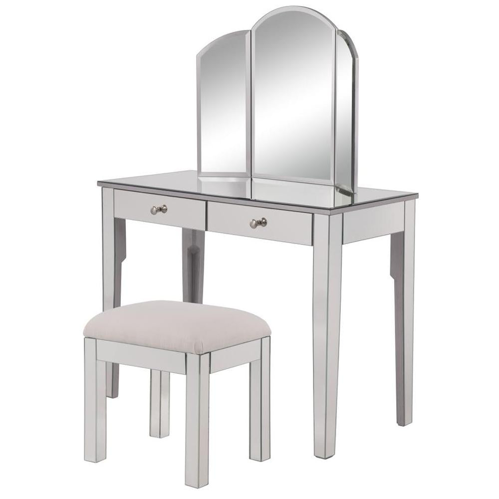 Contempo Vanity Table Set with Chair and 32-Inch Mirror