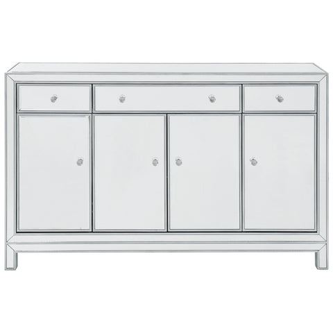 Reflexion 3-Drawer 4-Door Buffet Cabinet in Antique Silver Paint