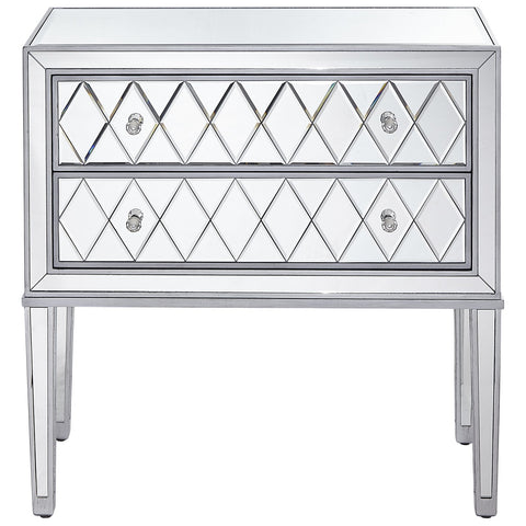 Reflexion 2 Drawers Nightstand in Antique Silver Paint