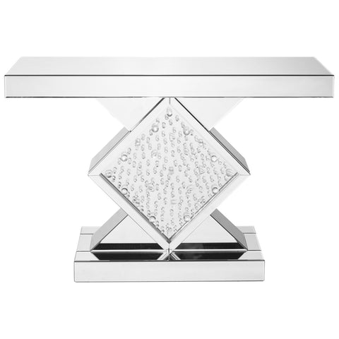 Modern Rectangle Crystal Console Table in Clear Mirror Finish