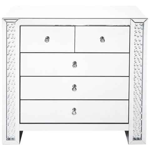 Modern 39.5-Inch Crystal 5 Drawers Cabinet in Clear Mirror Finish