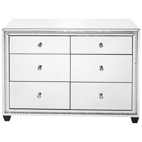 Modern 47-Inch Crystal 6 Drawers Cabinet in Clear Mirror Finish
