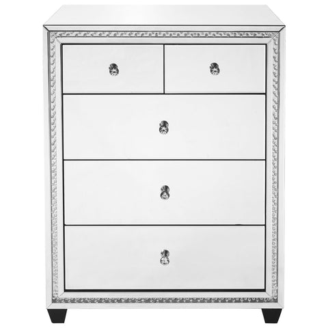 Modern 31.5-Inch Crystal 5 Drawers Cabinet in Clear Mirror Finish