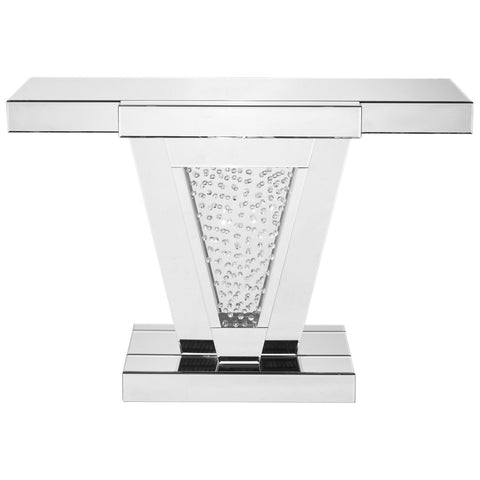 Modern 47-Inch Rectangle Crystal Console Table in Clear Mirror Finish