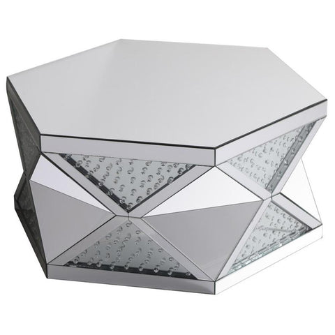 Modern 39.5-Inch Crystal Mirrored Coffee Table