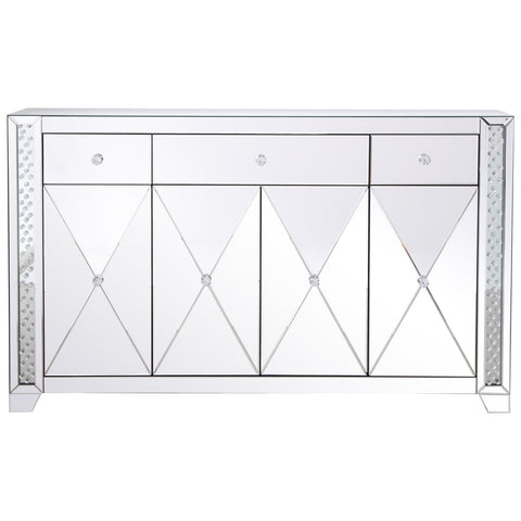 60-Inch Clear Crystal Mirrored Credenza