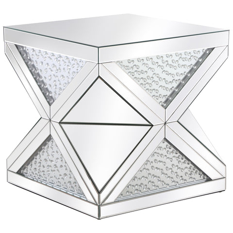 Modern 23-Inch Crystal End Table in Clear Royal Cut Crystal