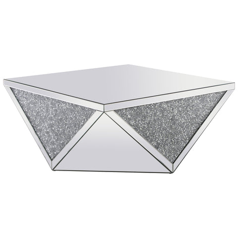 Modern 38-Inch Square Crystal Coffee Table in Silver Royal Cut Crystal