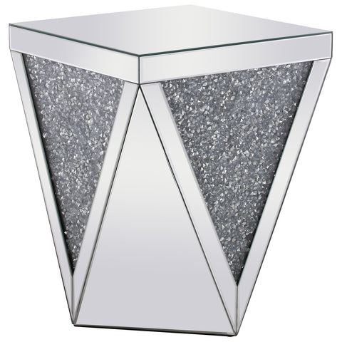 Modern 18.5-Inch Crystal End Table in Silver Royal Cut Crystal