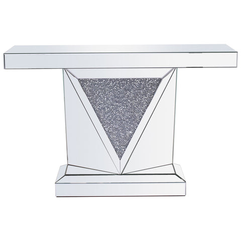 Modern Rectangle Crystal Console Table in Silver Royal Cut Crystal