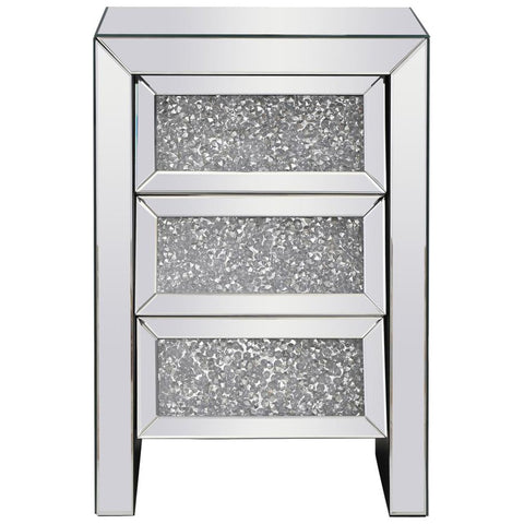 Modern 17.5-Inch Crystal Bedside Table in Silver Royal Cut Crystal