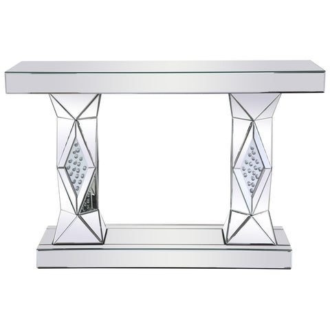 Modern Rectangle Crystal Console Table in Clear Royal Cut Crystal