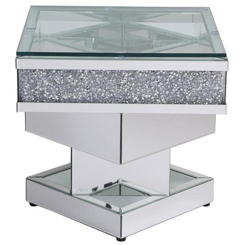 Modern 24-Inch Crystal Mirrored End Table