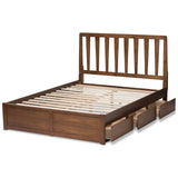 Baxton Studio Raurey Modern Walnut Finished Size Storage Platform Bed