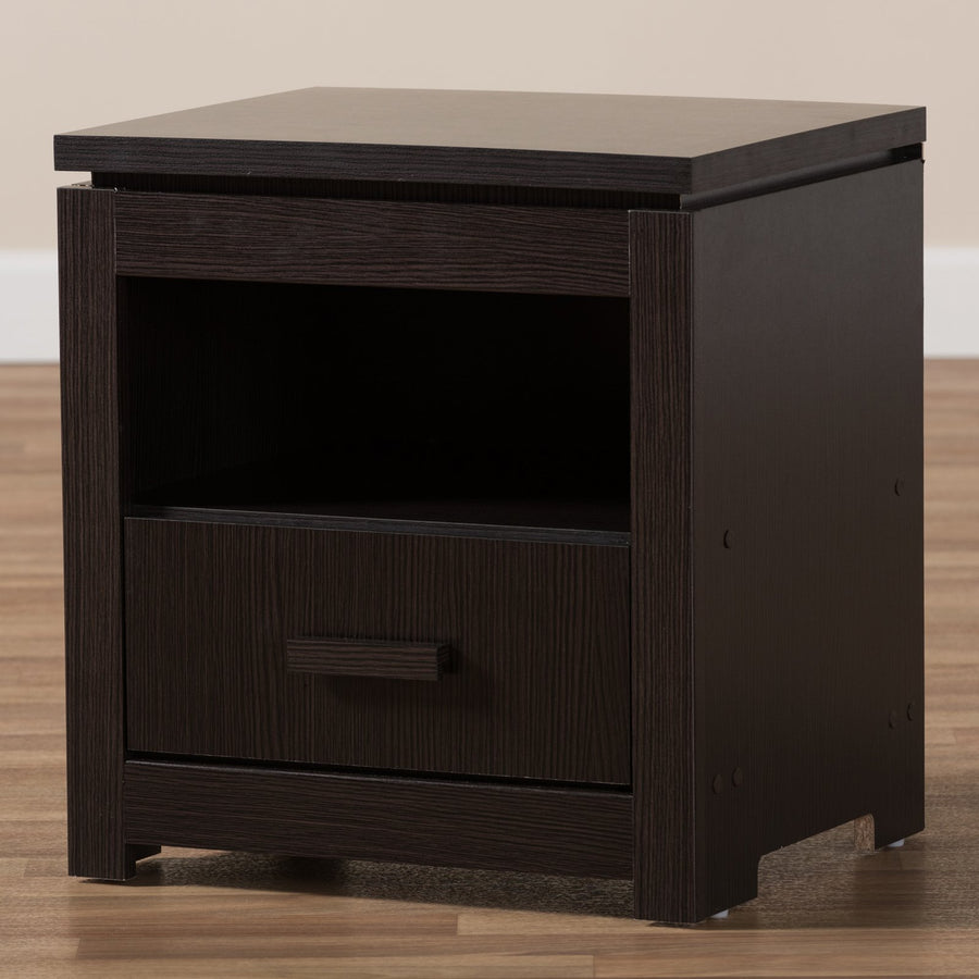 Baxton Studio Bienna Modern Wenge Brown Finished 1-Drawer Nightstand