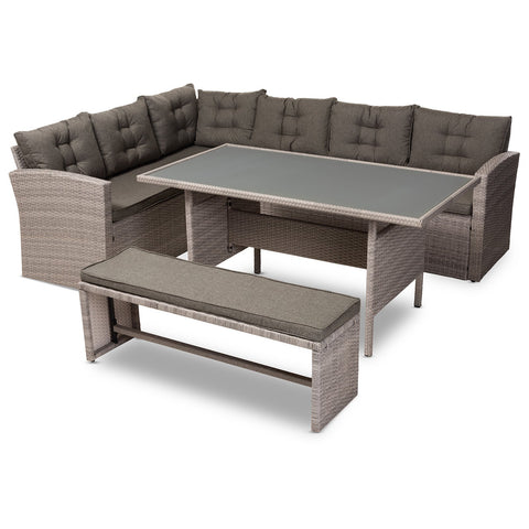 Baxton Studio Eneas Rattan 3-Piece Outdoor Patio Lounge Corner Sofa Set