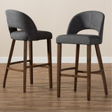 Baxton Studio Melrose Fabric Upholstered Walnut Wood Bar Stool Set of 2