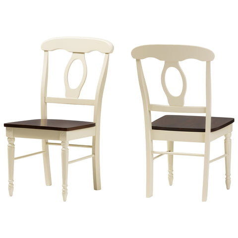 Baxton Studio Napoleon Cherry Brown Finishing Wood Dining Chair Set of 2