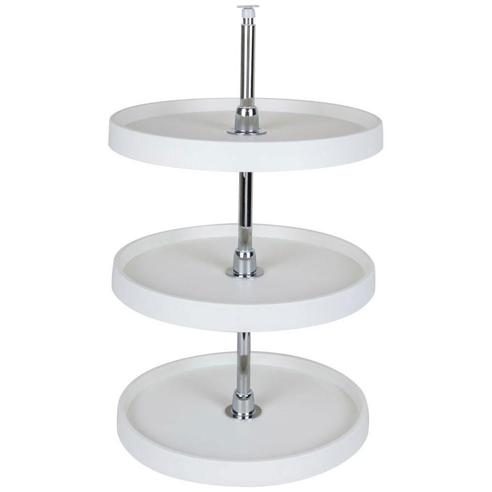 "3 Shelf 18"" Diameter Round Plastic Lazy Susan Set with Chrome Hubs"