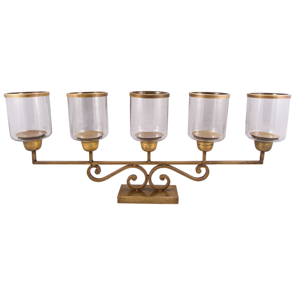 Hacienda Mantle Lighting in Antique Brass and Clear