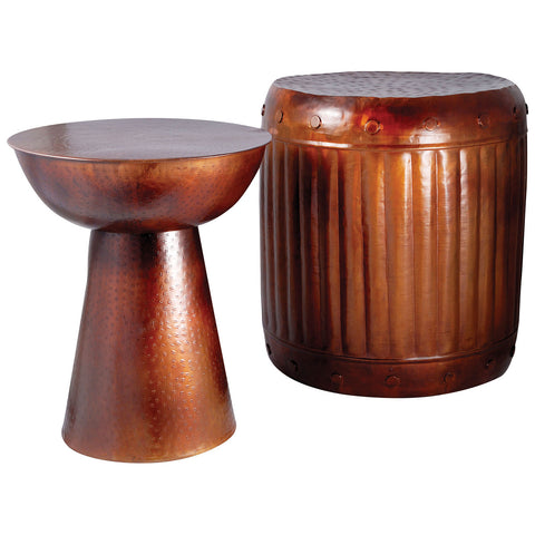 Truffle Table and Barrel Stool in French Antique Copper, Set of 2
