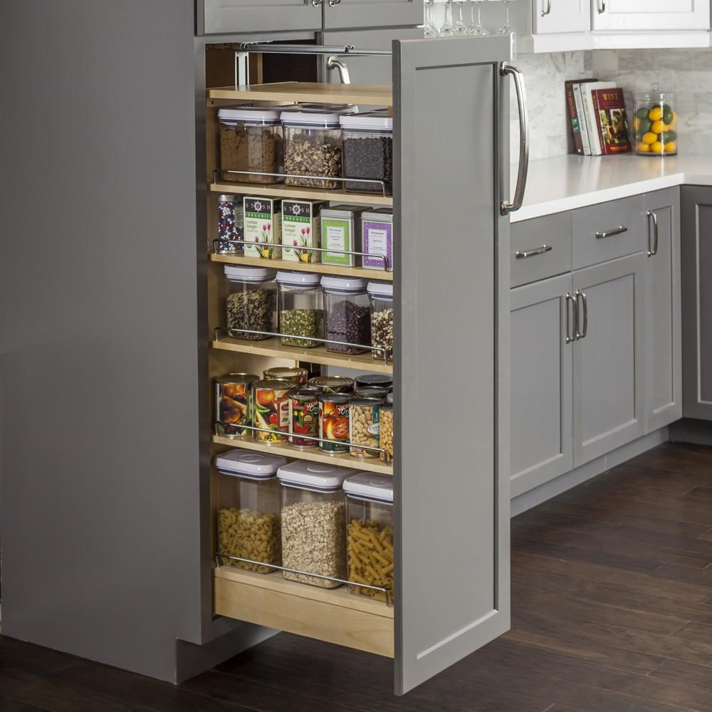 Wood Pantry Cabinet Pullout in UV Coated