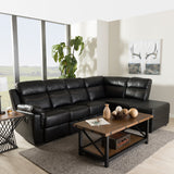 Baxton Studio Roland Black Faux Leather 2-Piece Sectional with Storage Chaise
