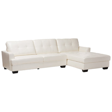 Baxton Studio Adalynn Modern and Contemporary White Faux Leather Sectional Sofa