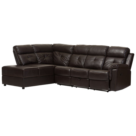 Baxton Studio Roland Dark Brown Faux Leather Sectional with Storage Chaise