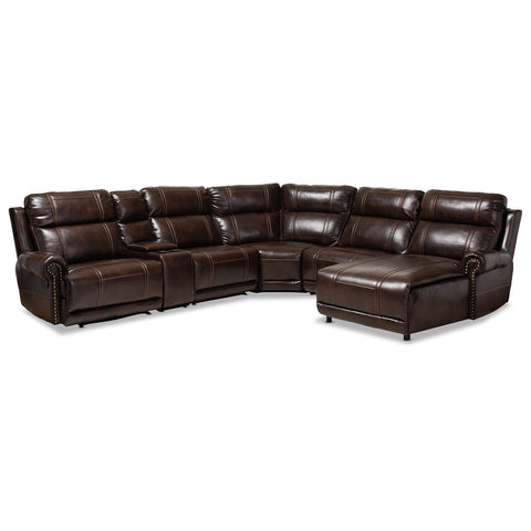 Baxton Studio Dacio Brown 6-Piece Sectional Recliner Sofa with 2 Reclining Seats