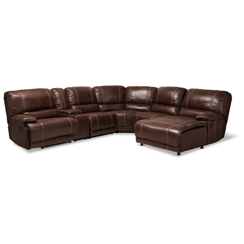Baxton Studio Salomo 6-Piece Sectional Recliner Sofa with 3 Reclining Seats