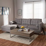 Baxton Studio Mireille Grey Fabric Upholstered Sectional Sofa