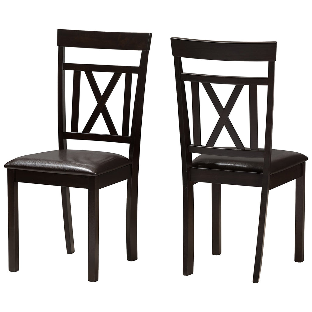 Baxton Studio Rosie Dark Brown Faux Leather Upholstered Dining Chair, Set of 2