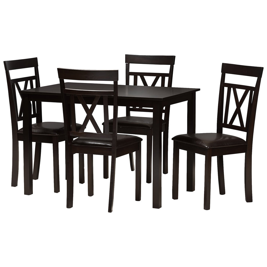 Baxton Studio Rosie Dark Brown Faux Leather Upholstered 5-Piece Dining Set