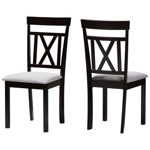 Baxton Studio Rosie Grey Fabric Espresso Brown Dining Chair Set of 2
