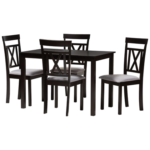 Baxton Studio Rosie Espresso Brown Grey Fabric 5-Piece Dining Set