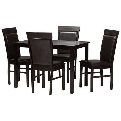 Baxton Studio Thea Dark Brown Faux Leather Upholstered 5-Piece Dining Set