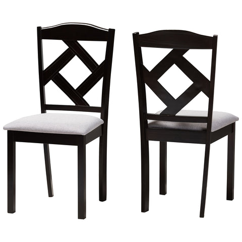 Baxton Studio Ruth Grey Fabric Espresso Brown Dining Chair Set of 2