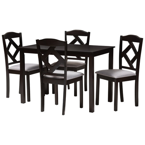Baxton Studio Ruth Espresso Brown Grey Fabric 5-Piece Dining Set
