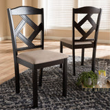 Baxton Studio Ruth Beige Fabric and Dark Brown Dining Chair, Set of 2