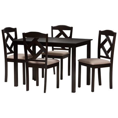 Baxton Studio Ruth Beige Fabric Upholstered and Dark Brown 5-Piece Dining Set