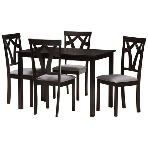 Baxton Studio Sylvia Grey Fabric Upholstered and Dark Brown 5-Piece Dining Set