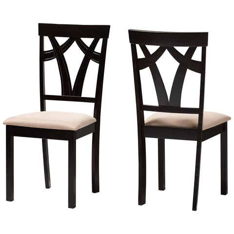 Baxton Studio Sylvia Sand Fabric Espresso Brown Dining Chair Set of 2
