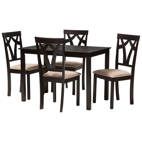Baxton Studio Sylvia Espresso Brown Sand Fabric 5-Piece Dining Set