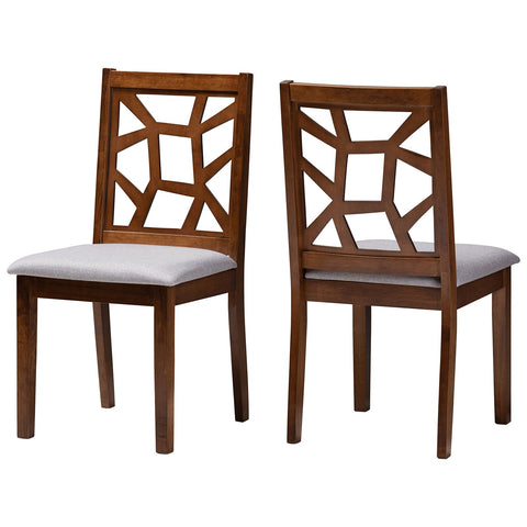 Baxton Studio Abilene Mid-Century Grey Fabric Walnut Brown Dining Chair Set of 2