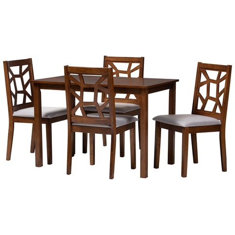 Baxton Studio Abilene Mid-Century Walnut and Grey Fabric 5-Piece Dining Set