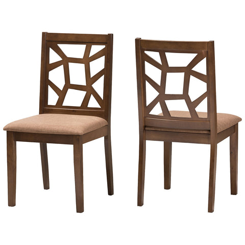 Baxton Studio Abilene Light Brown Fabric and Walnut Brown Dining Chair, Set of 2