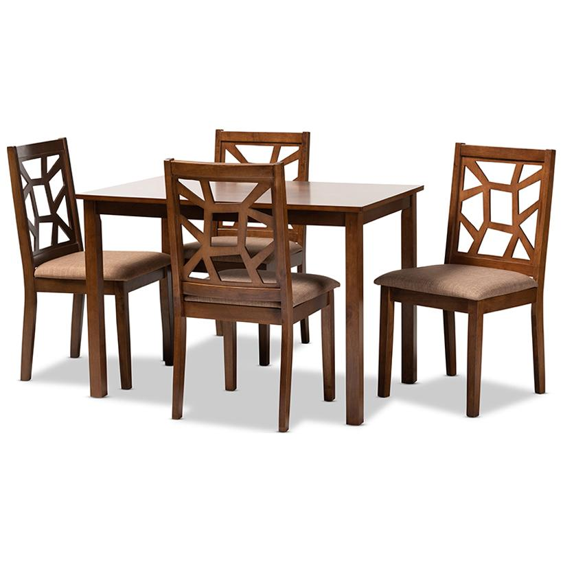Baxton Studio Abilene Light Brown and Walnut Brown 5-Piece Wood Dining Set