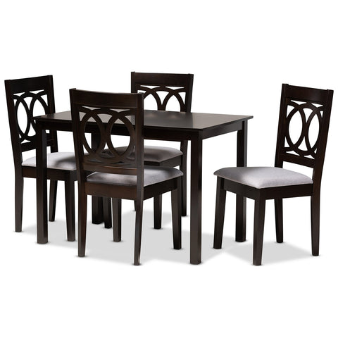 Baxton Studio Lenoir Fabric Espresso Brown Wood 5-Piece Dining Set